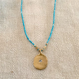 TEXTURED PAPER IMPRINT NECKLACE ON TURQUOISE - SKU308NLGT