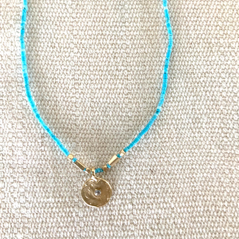 MINI DISC NECKLACE WITH SAPPHIRE ON TURQUOISE - SKU309NLGT