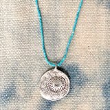 Summer Turquoise and Textured Handmade Pendant in Silver - sku315NLST