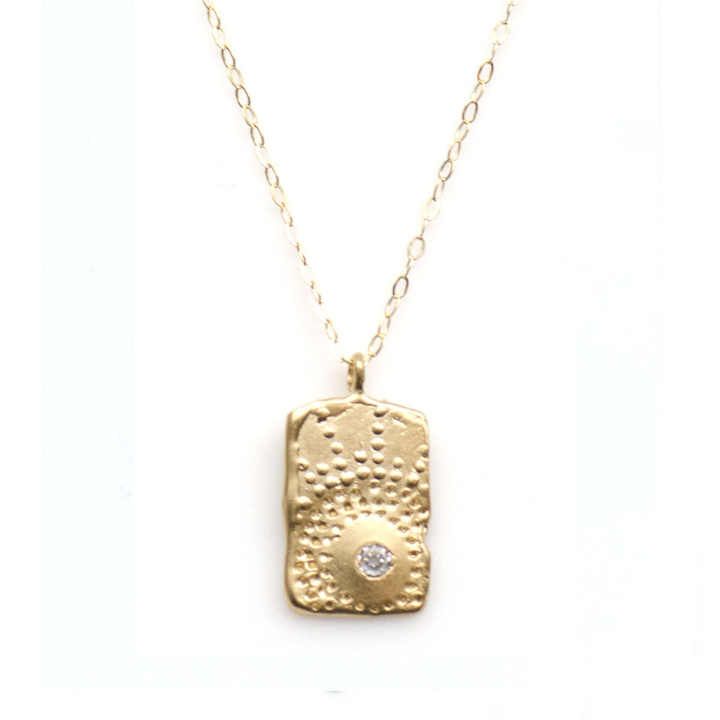 FIREWORK TEXTURED TAG NECKLACE IN GOLD - SKU327NLG - keelysmithdesigns