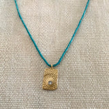 FIREWORK TEXTURED NECKLACE ON TURQUOISE - SKU327NLGT