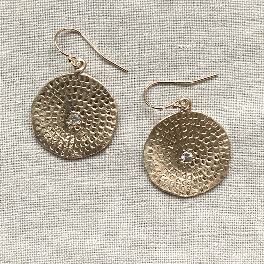 LARGE WOODBLOCK TEXTURE EARRINGS IN GOLD - SKU402ERG - keelysmithdesigns