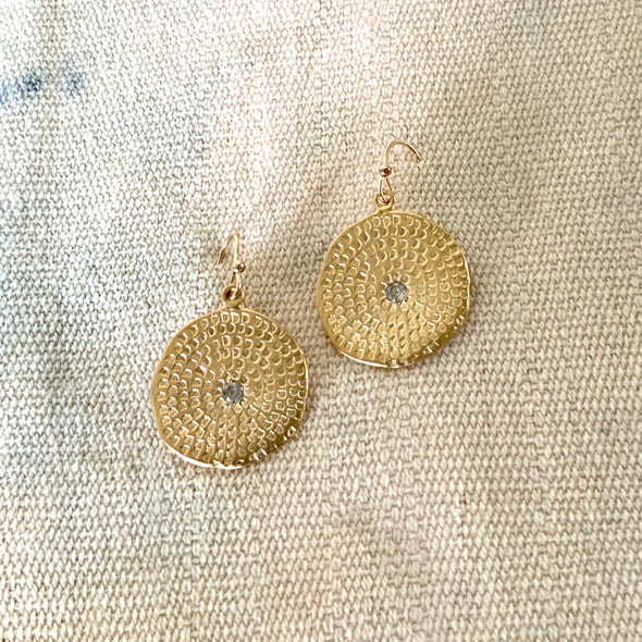 LARGE WOODBLOCK TEXTURE EARRINGS - GOLD - 402ERG