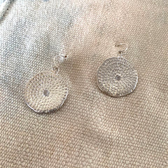 WOODBLOCK HAND STAMPED EARRINGS IN SILVER - SKU402ERS