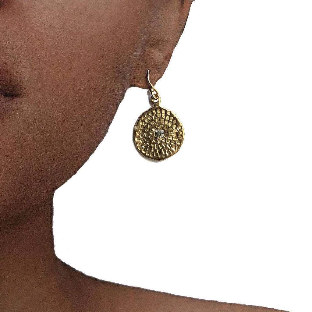 MEDIUM WOODBLOCK TEXTURE EARRINGS IN GOLD - SKU406ERG - keelysmithdesigns