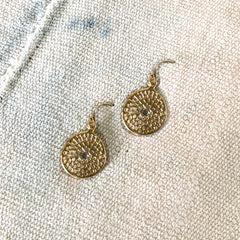 MEDIUM WOODBLOCK TEXTURE EARRINGS IN GOLD - SKU406ERG