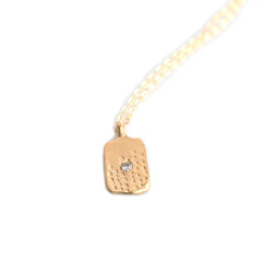 WOODBLOCK HAND STAMPED TAG NECKLACE - GOLD - 284NLG