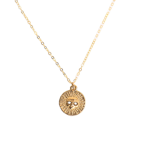 SMALL SKULL BURST DISC NECKLACE - GOLD - 270NLG