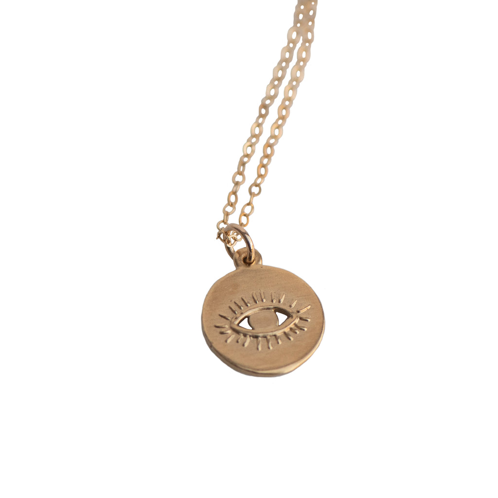 EVIL EYE DISC CHARM NECKLACE - GOLD - 230NLG