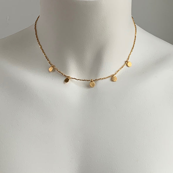 GOLD MULTI DOT CHARM NECKLACE - SKU 263NLG