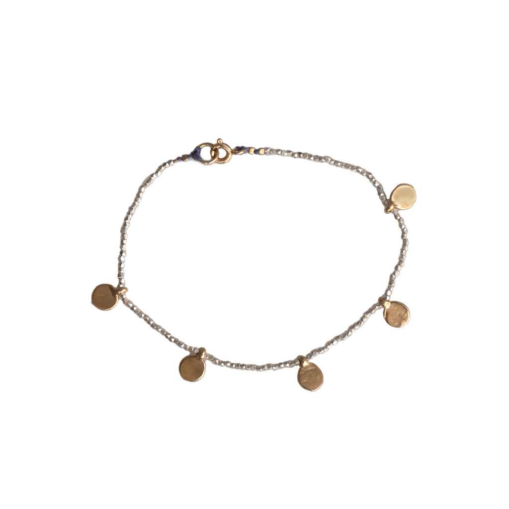 MULTI DOT CHARM SPARKLE BRACELET MIXED METALS - 055BLSG