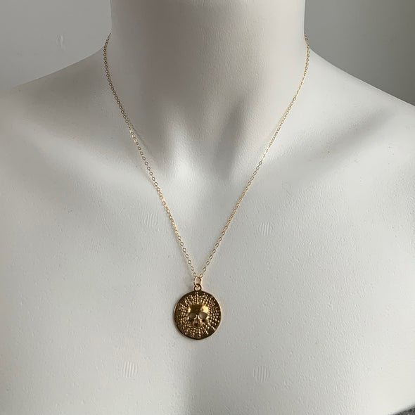 LARGE SKULL BURST DISC NECKLACE - GOLD - 224NLG