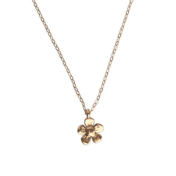 TINY DAISY FLOWER CHARM NECKLACE - GOLD - 231NLG