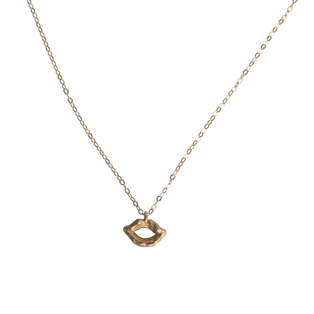 SKINNY MINI LIP CHARM NECKLACE - GOLD -218NLG