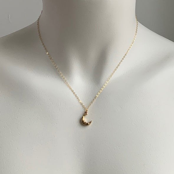 MINI MOON CHARM NECKLACE - GOLD - 239NLG