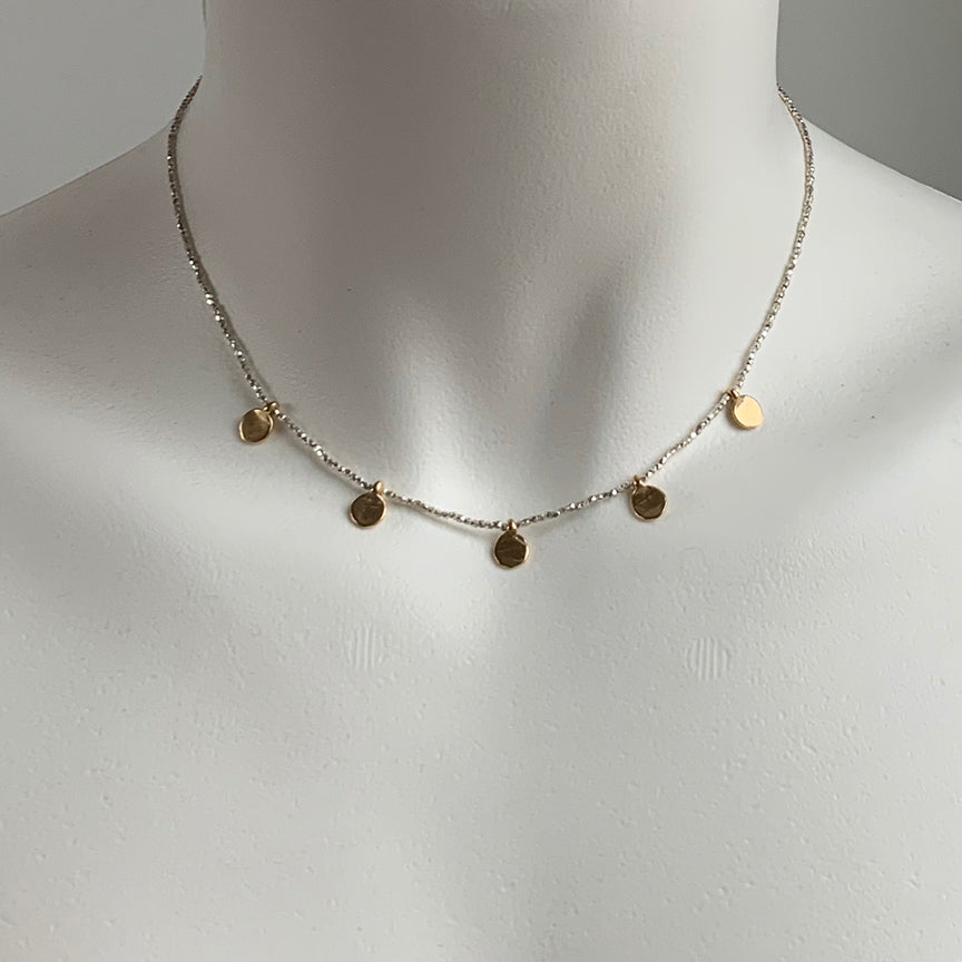 MIXED METALS MULTI DOT NECKLACE - 263NLSG