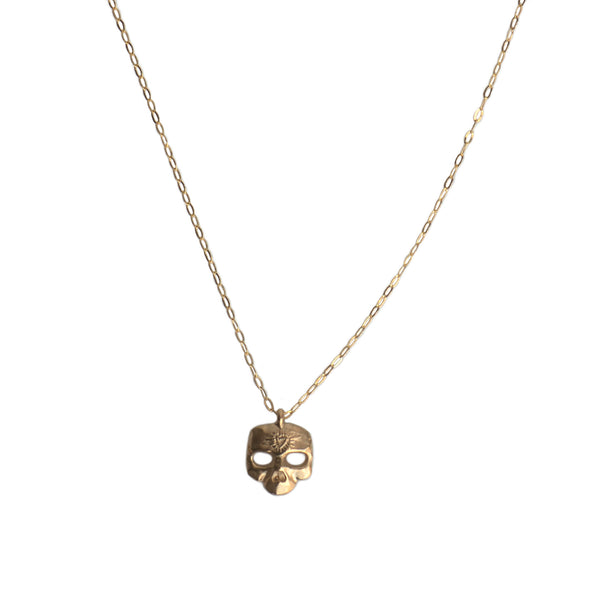 MINI SKULL CHARM NECKLACE - GOLD - 229NLG