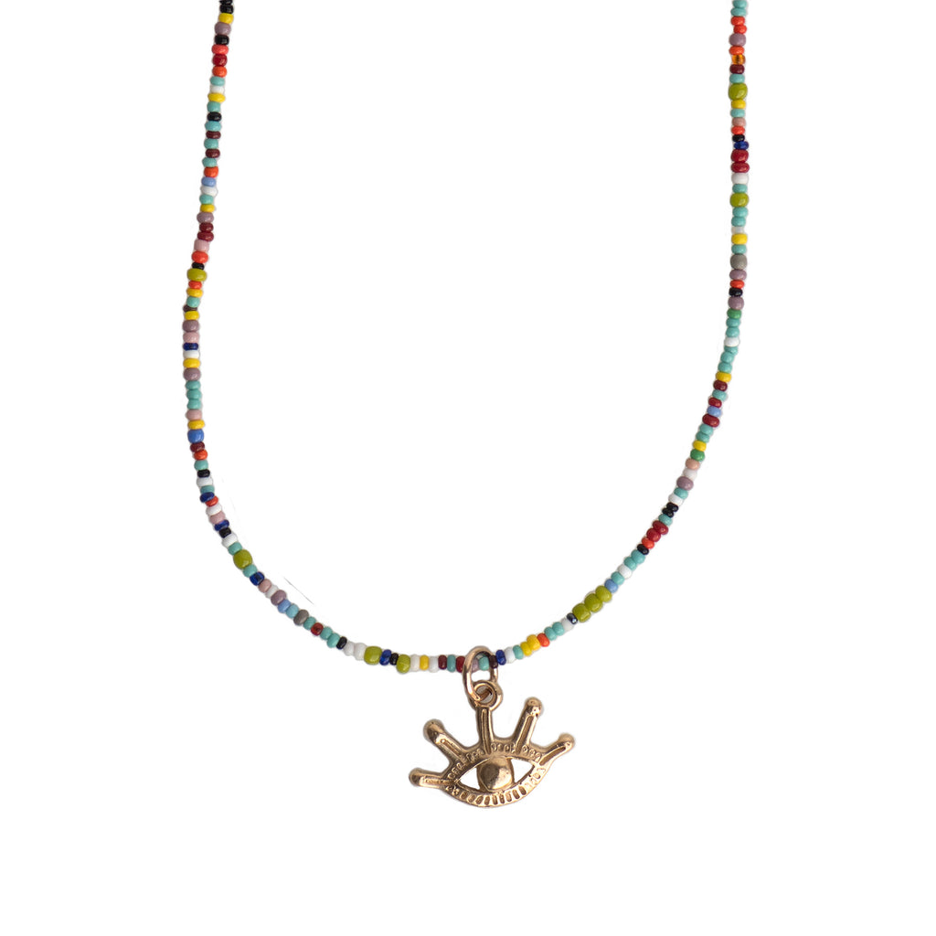 MINI EVIL EYE CHARM NECKLACE - MULTI MIX - 211NLGMC