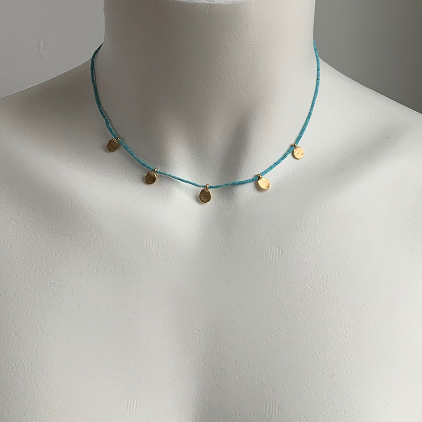 MULTI DOT CHARM AND NATURAL TURQUOISE NECKLACE - 263NLGT