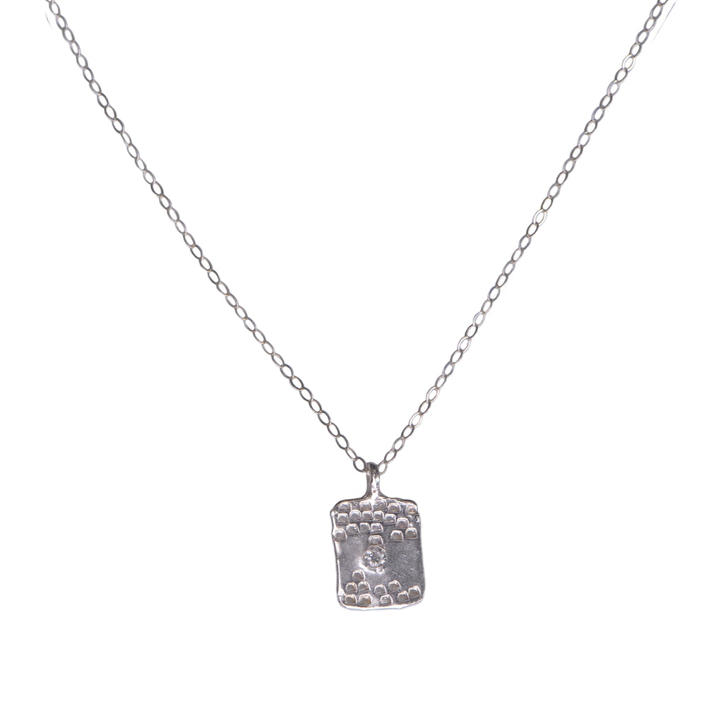 SMALL TAG TEXTURED NECKLACE - SILVER - 278NLS