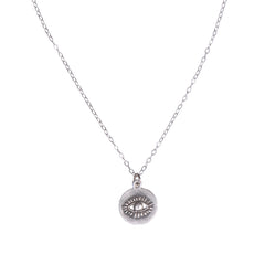 EVIL EYE DISC CHARM NECKLACE - SILVER - 230NLS