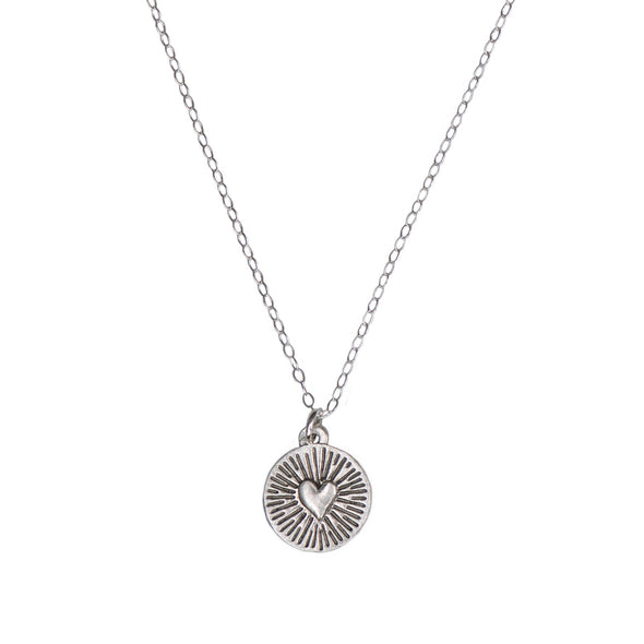 HEART SPARK DISC NECKLACE - STERLING - 226NLS