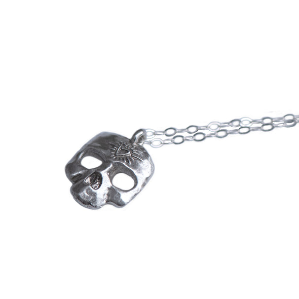 MINI SKULL CHARM NECKLACE - STERLING - 229NLS