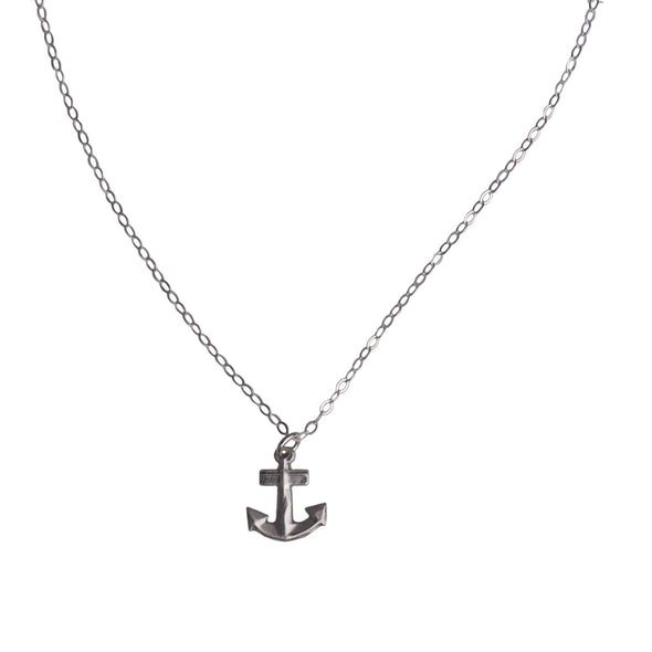 MINI ANCHOR CHARM NECKLACE -- SILVER - 219NLS
