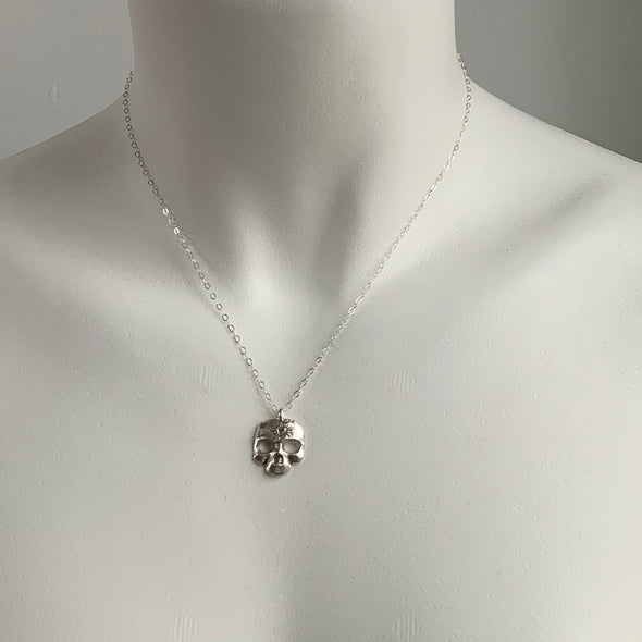 LARGE SKULL CHARM NECKLACE - STERLING - 225NLS