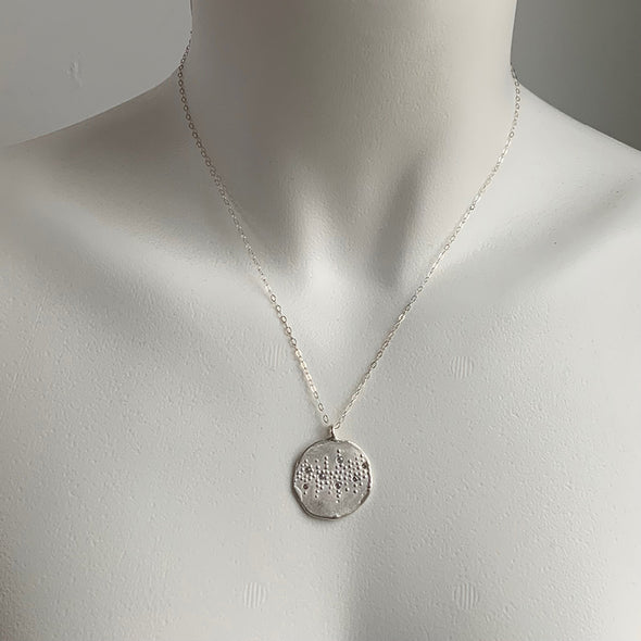 BUBBLE TEXTURED NECKLACE - SILVER - 304NLS