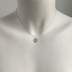 MINI WOODBLOCK TEXTURED NECKLACE IN SILVER - SKU286NLS