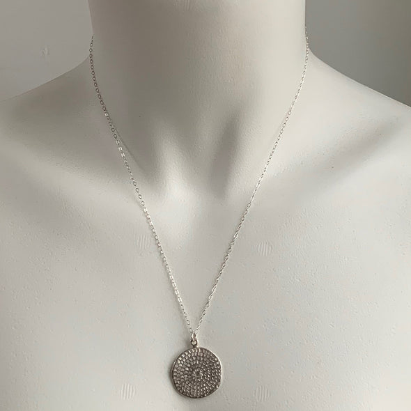 WOODBLOCK STAMPED NECKLACE IN SILVER - SKU283NLS