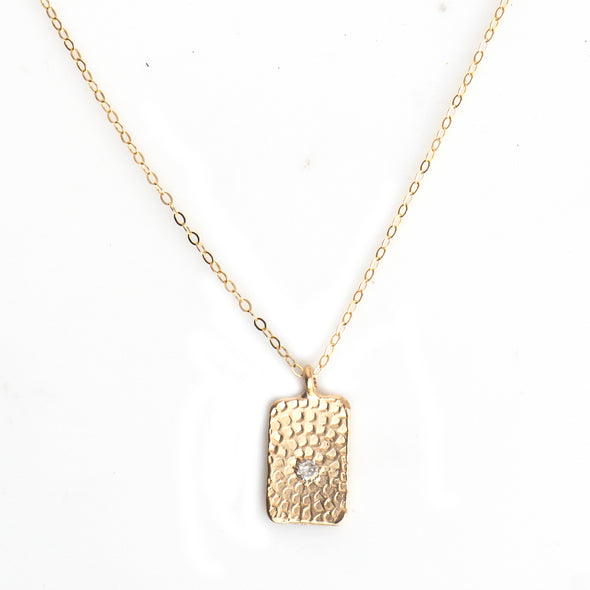 MINI WOODBLOCK HAND STAMPED TAG NECKLACE - GOLD - 296NLG