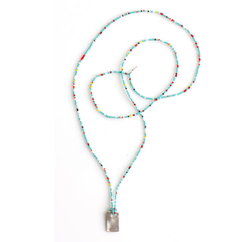 Tiny Beaded Turq Mix Layering Necklace with Simple Sterling Tag Charm By Keely Smith Jewelry Designs