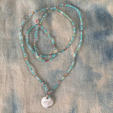 Tiny Beaded Turquoise Multi Colored Long Necklace with Handmade Disc Charm  By Keely Smith Jewelry Designs