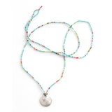 Tiny Beaded Long Layering Necklace with Handmade Sterling Disc Charm By Keely Smith Jewelry Designs