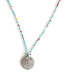 Tiny Beaded Turquoise Multi Colored Long Necklace with Handmade Disc Charm - sku212nlstm