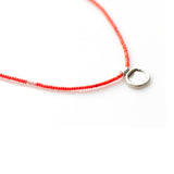 Tiny Bead Skinny Necklace  with Handmade Charm - sku202nlco