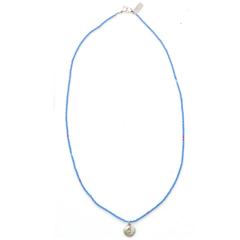 Tiny Beaded Blue Beach Style Necklace  By Keely Smith Designs