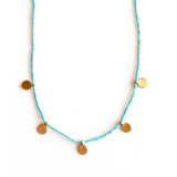MULTI DOT CHARM AND NATURAL TURQUOISE NECKLACE - SKU263NLGT