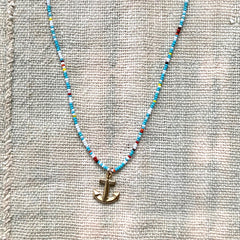 TINY ANCHOR CHARM NECkLACE - TURQ MIX - 219NLGTM