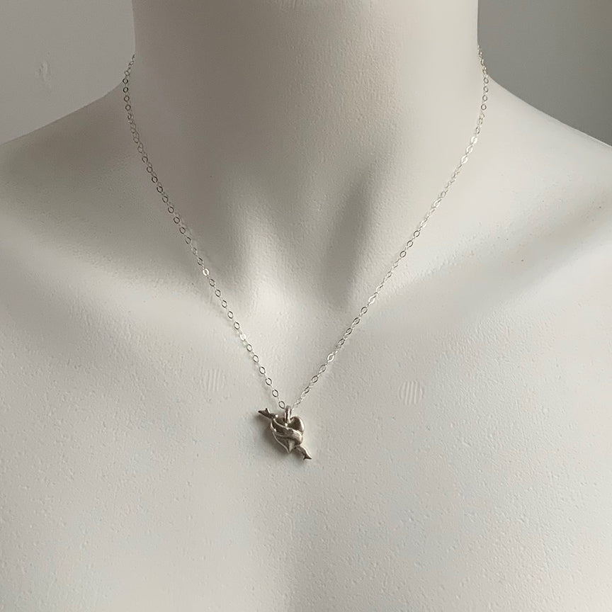 MINI HEART TATTOO CHARM NECKLACE - STERLING - 279NLS