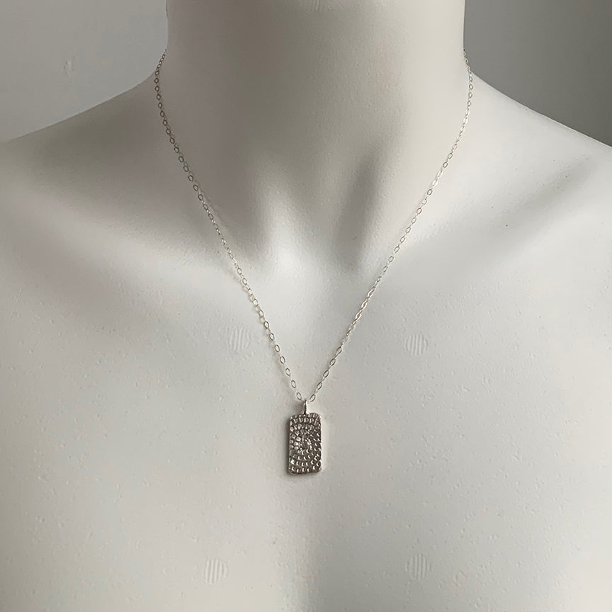 WOODBLOCK HAND STAMPED TAG NECKLACE - SILVER - 294NLS