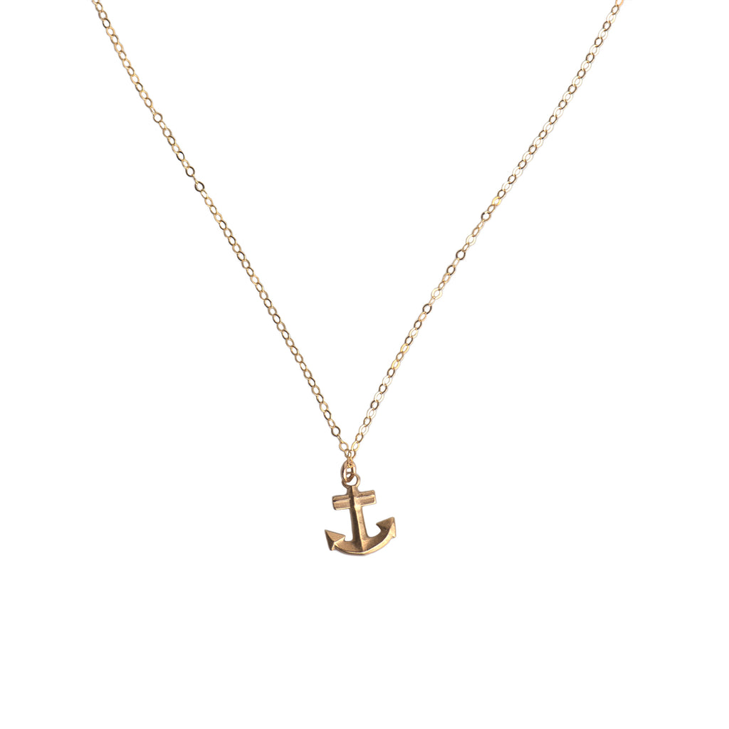 MINI ANCHOR CHARM NECKLACE - GOLD - 219NLG