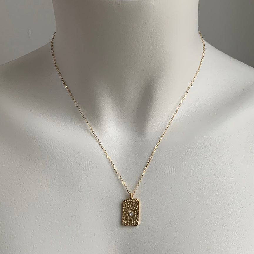 WOODBLOCK HAND STAMPED TAG NECKLACE - GOLD - 294NLG