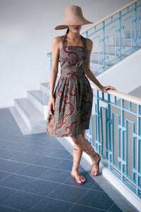 Lilith pinafore beachdress in Arabesque