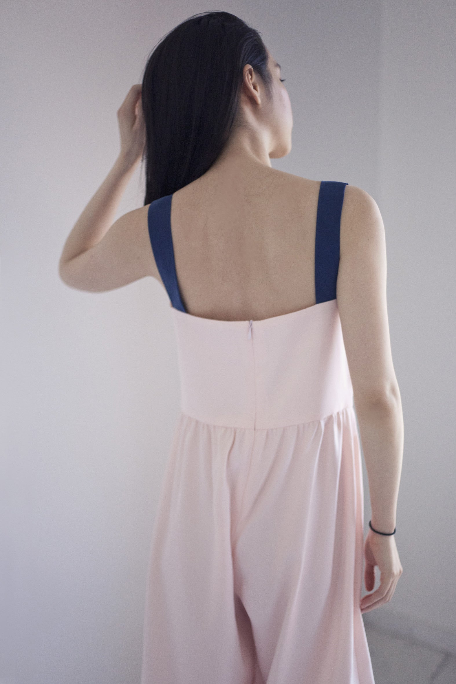 Persephone Pinafore Jumpsuit in Peach Whip