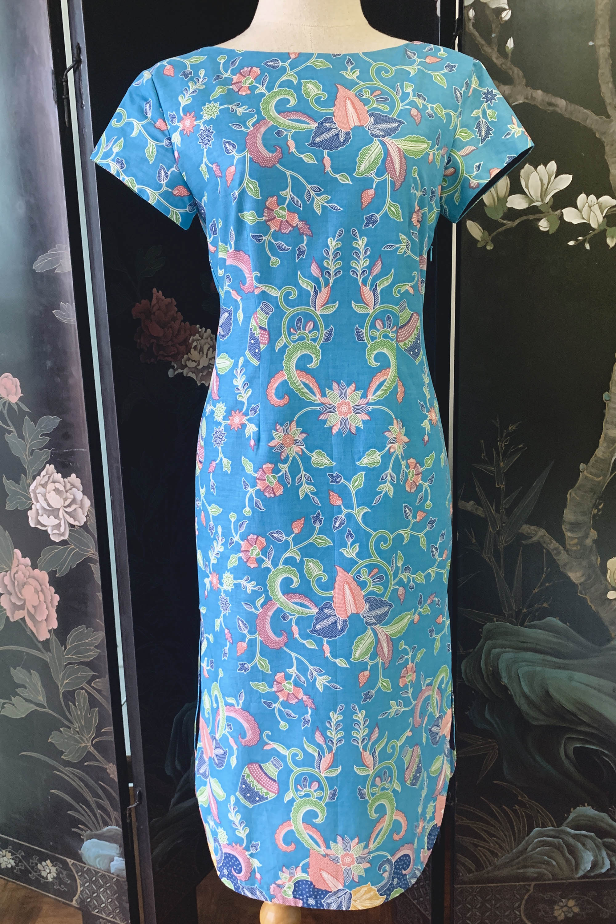 Rasa midi slit dress in Cyan