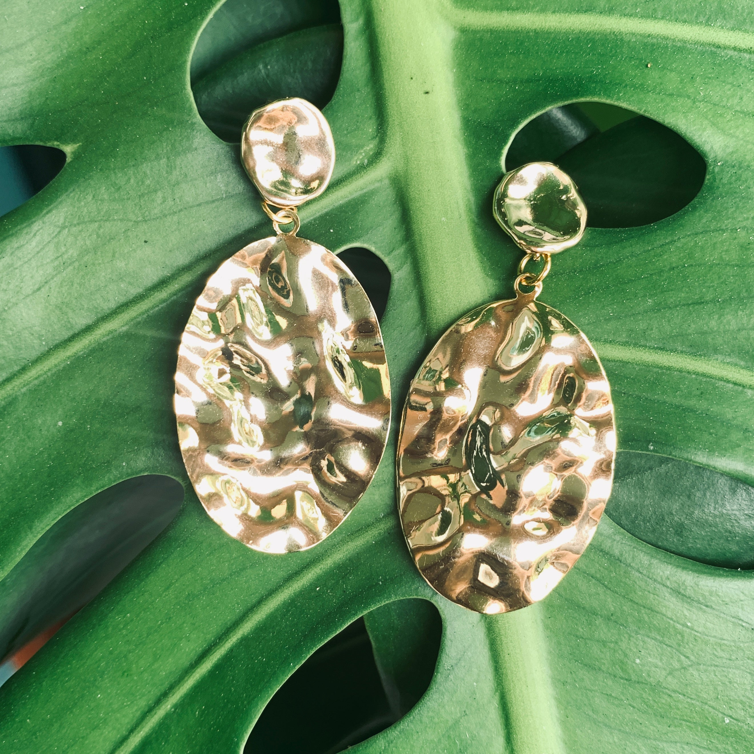 Ocean's Treasure Hammered Gold earrings