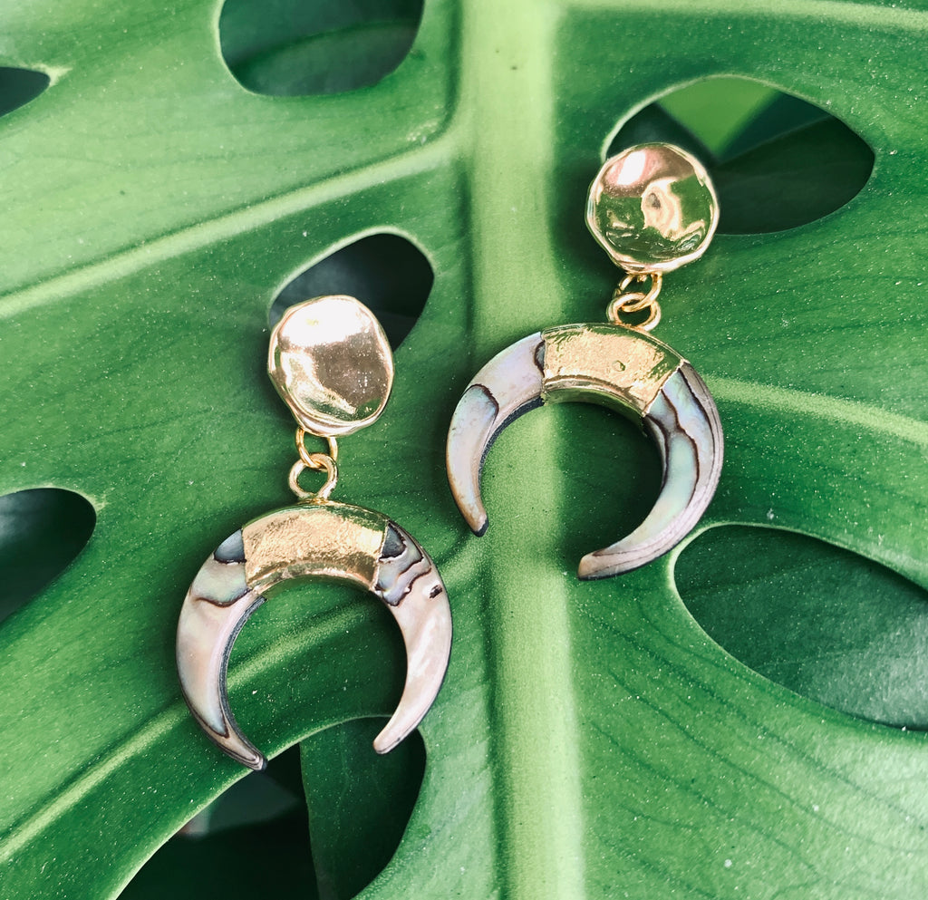 Ocean's Treasure Abalone Gold earrings